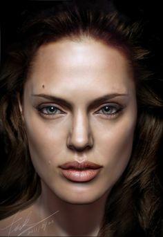 35 incríveis retratos de celebridades em 3D - Angelina Jolie