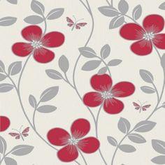 Fine Decor Delilah Red Floral FD40447