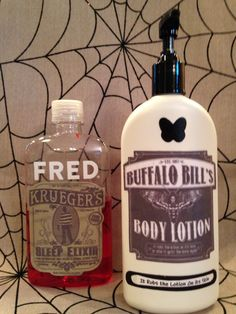 If you know horror movies…you'll get it!  Some bathroom decor I created with old bottles, printable labels & mod podge. Halloween, DIY,  Freddy Krueger, Silence of the Lambs   created by: Vanessa Busti