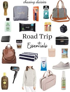 Road trip tips and road trip necessities for any long or short distance road trip! Road Trip Checklist, Road Trip Packing List, Road Trip Hacks, Travel Checklist, Packing Tips, Travel Packing, Backpacking Trips, Europe Packing, Suitcase Packing