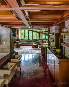 Dining Room. Maynard and Katherine Buehler House. Orinda, California.1949. Frank Lloyd Wright. Usonian Style.