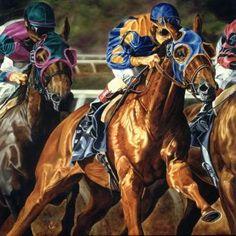 Horse Race / Equine Art Portrait Painting - Portrait Artist Rick Timmons