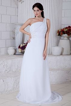 White Chiffon One-shoulder Graduation Gowns - Order Link: http://www.theweddingdresses.com/white-chiffon-one-shoulder-graduation-gowns-twdn1395.html - Embellishments: Applique , Beading , Ruched , Sequin; Length: Court Train; Fabric: Chiffon; Waist: Natural - Price: 157.95USD