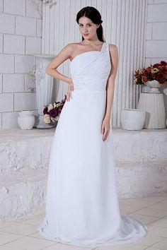 A-Line Chiffon Romantischen Graduierung Kleider ba1395 - http://www.brautmode-abendkleid.de/a-line-chiffon-romantischen-graduierung-kleider-ba1395.html - Ausschnitt: Eine Schulter. Stoff: Chiffon. Ärmel: Ärmellos. Farbe: Weiß. Silhouette: A-Line. - 195.59