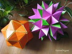 """Schwierigkeit ♥♥♡♡ Ein schöner """"Fun"""" Kusudama :-))bei dem sich die Blüten schließen und öffnen lassen..... Design Valentina. Gonchar Thank you so !! Gefaltet..."""