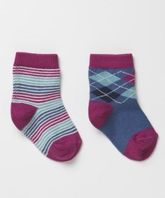 Orchid Argyle Sock Two Pack by the PACT company such well made quality items and uber cute too.