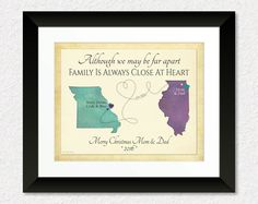 Birthday Gift for Grandma, Christmas Gift for Grandparents, Parents, Long Distance Gift Print, Always Close at Heart Quote, Family Gift Print by KeepsakeMaps on Etsy
