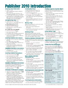 Microsoft Publisher 2010 Quick Reference Guide: Introduction (Cheat Sheet of Instructions, Tips  Shortcuts - Laminated Card)