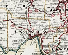 Scioto County, Ohio 1901 Map, Portsmouth, OH Portsmouth Ohio, Mapping Software, New Boston, Ohio Map, County Map, Historical Images, Blog Tips, Dream Vacations, Genealogy