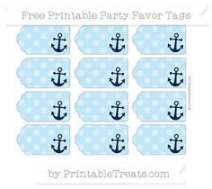 Free Baby Blue Dotted Pattern Nautical Party Favor Tags