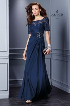 Elegant Evening Gown with Lace Short Sleeves 29755: Simple Elegance