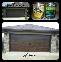 Our garage door makeover! Took our plain metal garage door, used gel stain to paint it, added hardware, and it looks like a real wood garage door now! Took about 2 hours from start to finish.