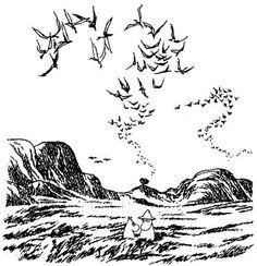 tove jansson, illustration from 'moominpappa and the sea' Tove Jansson, Illustration Tattoo, Children's Book Illustration, Moomin Tattoo, Moomin Books, Illustration Inspiration, Moomin Valley, Art Design, Portfolio