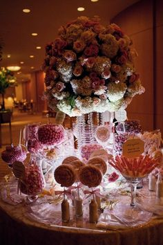 Pink candy bar and that centerpiece is gorgeous