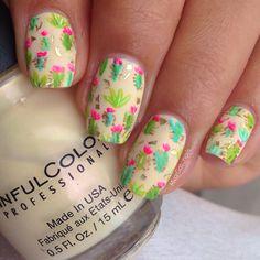 Cactus print nail art