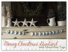 DIY Crafting - Create a Merry Christmas garland with metal rim tags - how-to @ aka design, this is super simple, tags, punch, Sharpie, hole punch, jute string (and font of choice)