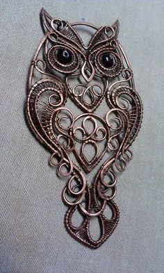 OlgaMarvelousArtShop Wire Wrap wire wrapped owl pendant, handcrafted copper jewelry