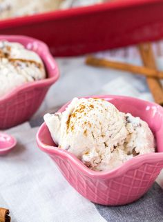 You won't believe how easy this cinnamon ice cream recipe is to make! No churning or ice cream maker is required. I packed double the cinnamon goodness in! Get the easy ice cream recipe on RachelCooks.com!