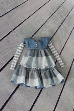Denim dress with sleeves for 1/6 doll  The dress sewn from vintage fabric…