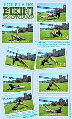 blogilates:  1. Tricep Dip 'n Kick: Targets: Triceps, legs A. Begin with your fingertips facing forward with your butt raised. Lift your right leg off the floor, keeping it parallel to the ground. B. Kick right leg straight up as you bend your elbows back. Then return to starting position. Try 10 with the right leg and 10 with the left! Modification: Do not kick! Keep both feet on the ground as you perform just the tricep dip part of the move. 2. Bridge Pulse: Targets: Butt, quadriceps…