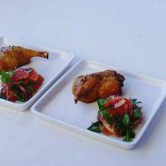 Roast duck with grapefruit, red onion & rocket salad