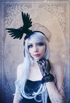 "Fascinator ""Nevermore"" ( Raven, Crow, Goth, Headdress, Black feathers) by BlackUnicornShop on Etsy https://www.etsy.com/listing/155544237/fascinator-nevermore-raven-crow-goth"