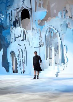 """""""Elle Muliarchyk's New York fashion week photo diary.    The stage at the Marc Jacobs show was designed by the artist Rachel Feinstein and looked like something out of a C.S. Lewis novel. It was a fairy tale cut out of white construction paper""""  NYTimes"""