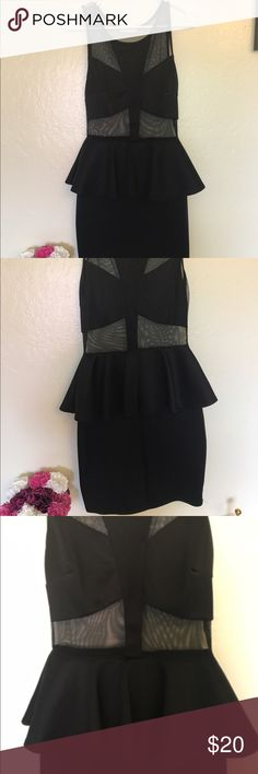 Agaci black peplum dress Agaci black peplum sheer mini/mid dress Dresses