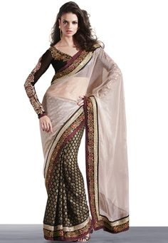 Light Fawn Net Saree with Blouse