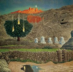 Mati Klarwein | Leh C'est Beau aka. Landmark (1976). Mische Technique (layers of oil and tempera on primed canvas). 80 x 80 cm.