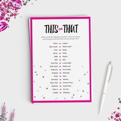 See how well your guests know the birthday girl with this fun party game! This or That is a twist of the party favorite Would You Rather -- guests see the simple prompts and choose their guess for what the birthday girl is going to choose. For added fun, grab a Starbucks gift