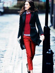 dustjacket attic  Ruby Red Fashion Cuir Noir, Manteau Bleu, Pantalons  Rouges, Escarpins bde1ebeccad9