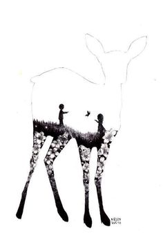 A deer with the silhouettes of Snape and Lily. What a beautiful drawing.