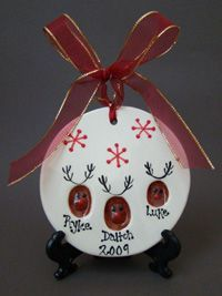 Thumbprint Christmas ornament with kids thumb prints.