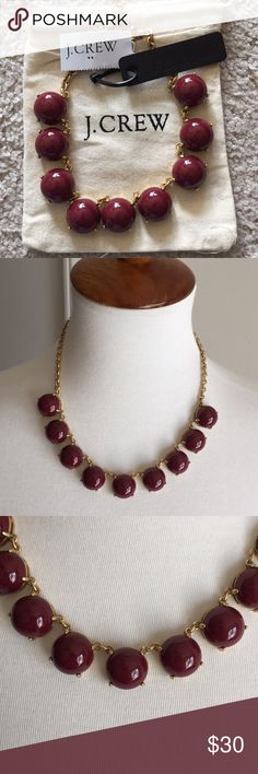 "NWT J.CREW mini bubble stone Cluster  necklace NWT gorgeous statement necklace 100% authentic  Epoxy stone. Light gold ox plating. Length: 17"" with a 3"" extender chain for adjustable length Dark wine color J. Crew Jewelry Necklaces"