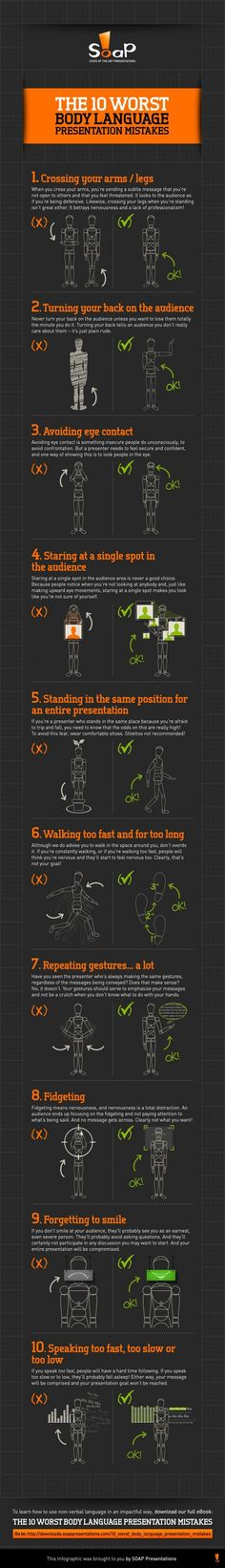 Psychology infographic & Advice Interviews: The 8 Worst Body Language Mistakes — INFOGRAPHIC Image Description Interviews: The 8 Worst Body Language Leadership, Public Speaking Tips, Coaching, Presentation Skills, Communication Skills, Body Language, Career Advice, Things To Know, Life Skills