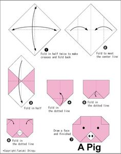 Pig (face) - Easy Origami For Kids: