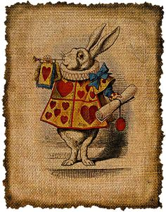 Vintage, White Rabbit, Alice in Wonderland, Altered, Ephemera, Iron on, Image No. 427. $1.00, via Etsy.