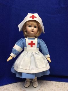 Bleuette Dolls Nurses Outfit, Blue Dress, White Apron & Nurses Hat