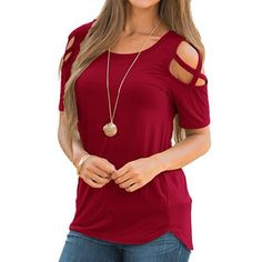 Looking for Rdfmy Womens Loose Strappy T-Shirts Cold Shoulder Tops Short Sleeve Blouses ? Check out our picks for the Rdfmy Womens Loose Strappy T-Shirts Cold Shoulder Tops Short Sleeve Blouses from the popular stores - all in one. Cold Shoulder Blouse, Shoulder Tops, Off The Shoulder Tee, Lace Tunic, Mode Hijab, T Shirts For Women, Clothes For Women, Ladies Shirts, Short Sleeve Blouse
