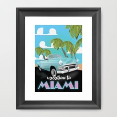 Miami vintage travel poster Framed Art Print