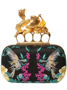 ALEXANDER MCQUEEN - EMBROIDERED SATIN KNUCKLEBOX CLUTCH - LUISAVIAROMA - LUXURY SHOPPING WORLDWIDE SHIPPING - FLORENCE
