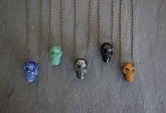 Gemstone Necklace // Skull Pendant  // Gemstone Pendant // Tigers Eye // Pyrite // Men's Necklace // Men's Jewelry // Skull Necklace by TheRockStarGoddess on Etsy https://www.etsy.com/listing/225984443/gemstone-necklace-skull-pendant-gemstone