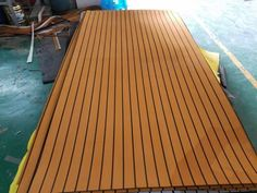 EVA Light Brown Foam Faux Teak Decking Sheet with Black s...