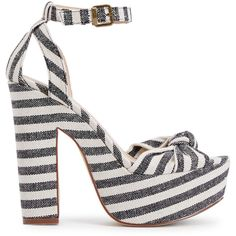 ShoeDazzle Sandals-Dressy - Platform Lawren Womens Black/White ❤ liked on Polyvore featuring shoes, sandals, sandals-dressy - platform, dressy sandals, high heel platform sandals, dressy shoes, black and white shoes and platform sandals