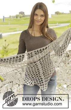 """Crochet DROPS shawl with lace pattern in """"Brushed Alpaca Silk"""". ~ DROPS Design"""