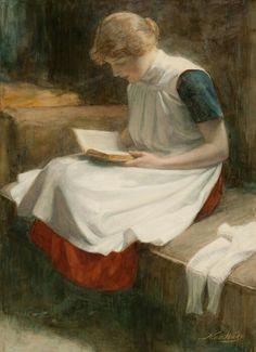 Lezend meisje, Nicolaas van der Waay, Dutch (1855 - 1936)