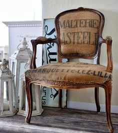 Burlap flour sacks used to recover an antique chair!