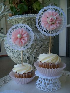 Elegant Lace Cupcake Toppers by JeanKnee on Etsy, $12.00