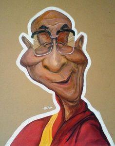 Caricaturas by Daniel Alho / Dalai Lama